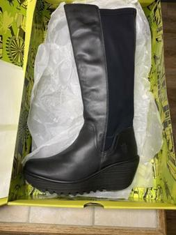 Fly London Black Tall Boots Size 39 Euro US 8 New In Box