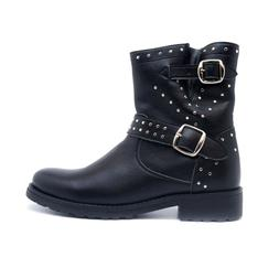 Mid Calf Biker Boot on Vegan Leather Black Lined with Metal