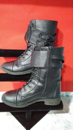 Chatties Military Style Mid Calf  Boots  Size 9 Black Faux L
