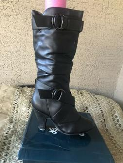 New Lucky 5 Mid Calf Boots Black Wet Style Loma-Hi