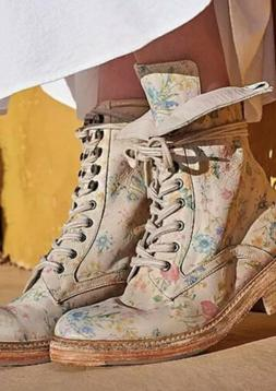 Free People Santa Fe Boots Lace Up Floral Combat S 40, 10 Vi