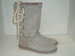 UGG Boots Harbour Tweed Lace up Mid Calf Oyster Size 6 M
