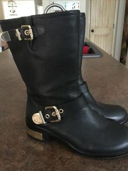 Vince Camuto Winchell Mid Calf Black Leather Moto Boot Gold