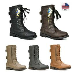 Women's New Mid Calf Military Pocket Wallet Lace up Combat M
